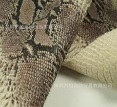 进口头层压花蟒蛇纹成品牛皮箱包专用优质皮